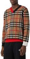 Burberry Check Merino Wool Knit Sweater