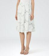 Reiss Hex Textured Midi Skirt