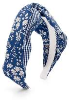 Benoit Missolin Eugenie Floral-print Twill Headband - Womens - Blue Print