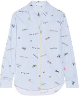 Mira Mikati Printed Cotton-poplin Shirt - Light blue