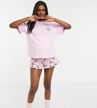 ASOS DESIGN Maternity exclusive mama bear tee and frill shorts pyjama set in pink