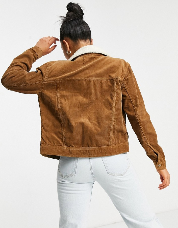 Thumbnail for your product : Brave Soul prestwich borg collar cord jacket in tan