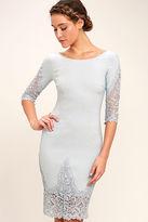 LuLu*s Midnight Garden Blue Grey Lace Bodycon Dress