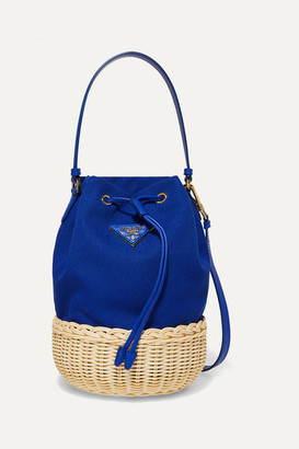Prada Giardiniera Leather-trimmed Canvas And Wicker Shoulder Bag - Blue