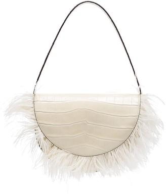 STAUD Amal feather-trimmed shoulder bag
