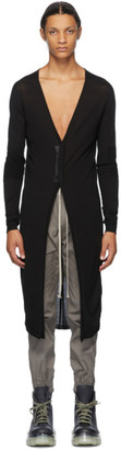 Rick Owens Black Wool Snap Long Cardigan