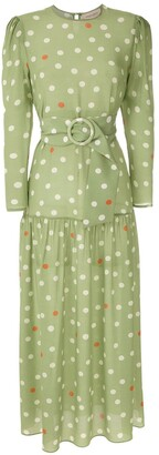 Adriana Degreas Silk Polka Dot Dress