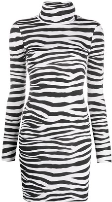 Just Cavalli High-Neck Zebra Mini Dress