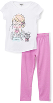 DKNY Bright White Tee & Black Leggings - Infant & Girls