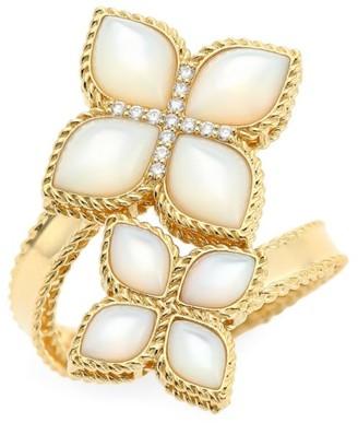 Roberto Coin Venetian Princess 18K Gold Mother-Of-Pearl & Diamond Wrap Ring