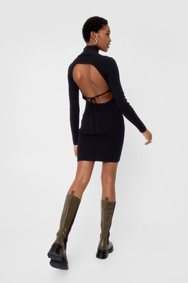 Nasty Gal Womens Backless Turtleneck Knitted Bodycon Dress - Black - 4