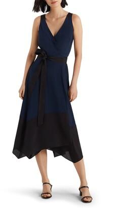 Club Monaco Colorblock Silk Wrap Dress