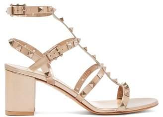 Valentino Rockstud Block-heel Leather Sandals - Womens - Gold