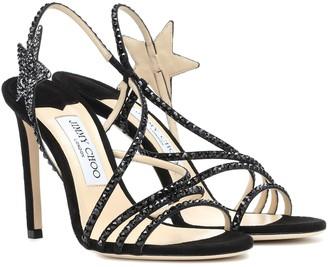 Jimmy Choo Lynn 100 embellished suede sandals