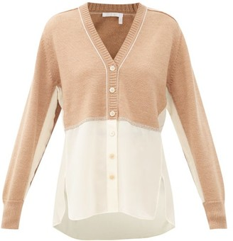 Chloé Silk-georgette And Knitted Wool Cardigan - Light Brown
