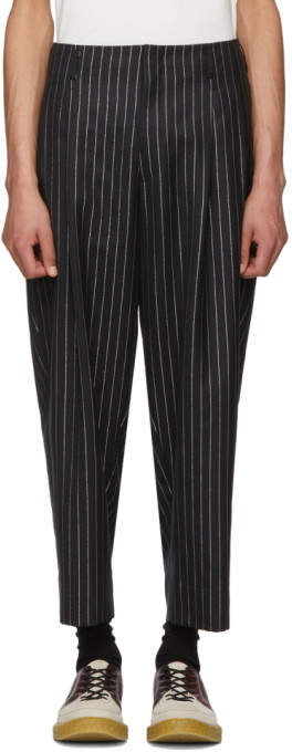 Comme des Garcons Black and Silver Lame Pinstripe Trousers