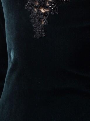 Marchesa Notte Cold-Shoulder Velvet Gown