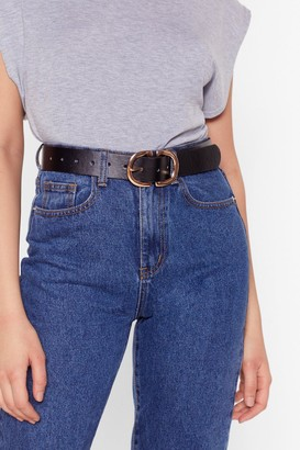 Nasty Gal Womens Circle Double Buckle Belt with Two D-Ring Buckle Closures - Black