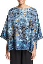 eskandar Mosaic-Print Silk T-Shirt