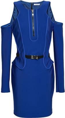 Thierry Mugler Cold-shoulder Belted Cady Mini Dress