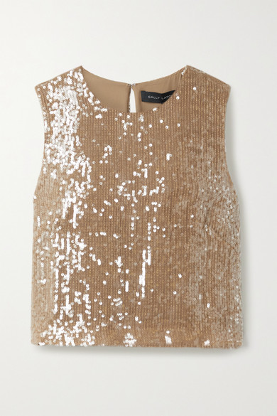 Sally LaPointe Cropped Paillette-embellished Georgette Top - Light brown