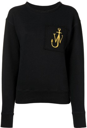 J.W.Anderson Washed Black Raw-Edge Logo Sweatshirt With Pocket Detail