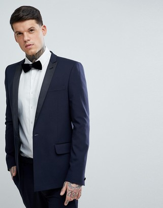 Asos Skinny Tuxedo Suit Jacket In Navy With Black Satin Lapel