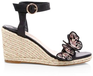 Sophia Webster Riva Butterfly Leather Espadrille Wedges