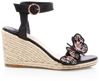 Sophia Webster Riva Butterfly Leather Espadrille Wedges