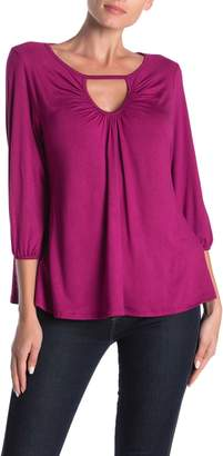Loveappella Ruched Keyhole Cut Out Shirt