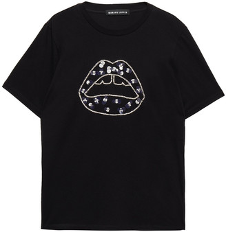 Markus Lupfer Crystal And Sequin-embellished Cotton-jersey T-shirt
