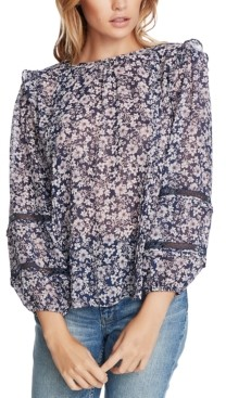 1 STATE Trendy Plus Size Floral-Print Lace-Inset Top