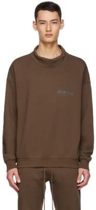 Essentials SSENSE Exclusive Brown Logo Mock Neck Sweatshirt