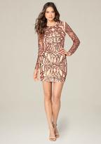 Bebe Sequin Mesh Dress