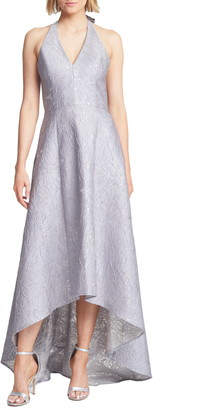 Halston Metallic Jacquard Halter Neck High/Low Ballgown