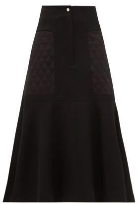 Lee Mathews Logan Quilted-panel Wool-blend Midi Skirt - Black