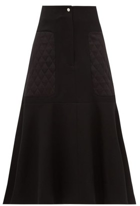 Lee Mathews Logan Quilted-panel Wool-blend Midi Skirt - Womens - Black