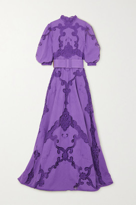 Costarellos Alessie Belted Lace-paneled Linen And Cotton-blend Gown - Purple