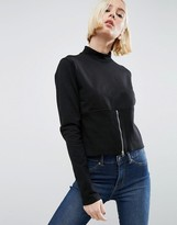 Cheap Monday High Neck Sweatshirt with Zip Detail