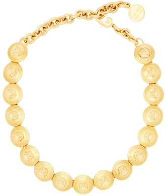 Versace Medusa-plaque Coin Necklace - Womens - Gold