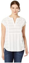 Vince Camuto Extend Shoulder Textured Gauze Henley Blouse (Pearl Ivory) Women's Clothing