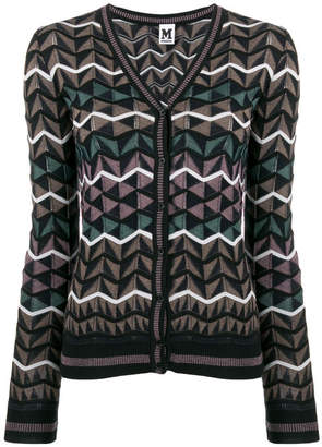 M Missoni Wool And Cotton Blend Geometric Pattern Cardigan