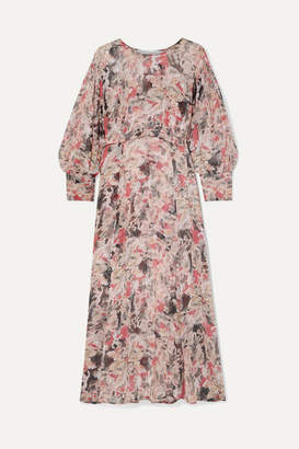 IRO Norma Floral-print Crepon Midi Dress - Pink