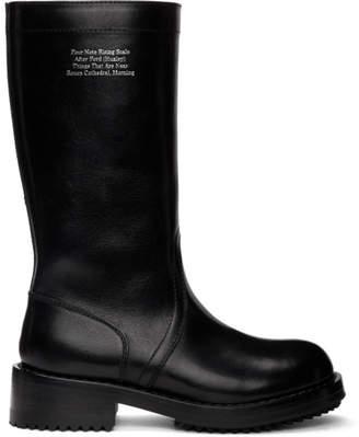 Raf Simons Black Text Mid-Calf Boots
