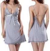 OnlyFuns Women's Sexy Lace Full Slip Babydoll Dress Chemise Sleepwear Lingere Set M