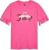 Juicy Couture Flamingo fringed-sleeve cotton T-shirt 4-12 years