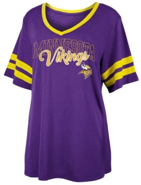 5th & Ocean Women's Minnesota Vikings Sleeve Stripe Slub T-Shirt