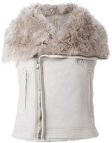 Rick Owens biker waistcoat - women - Cotton/Calf Leather/Lamb Fur - 44