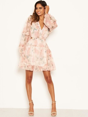 AX Paris Floral Chiffon Side Cut Dress - Pink