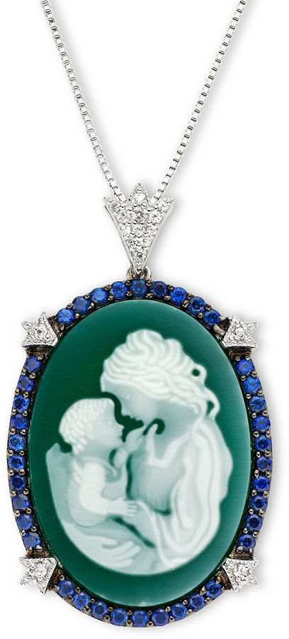 JCPenney FINE JEWELRY Green Agate & Lab-Created Sapphire Oval Family Cameo Pendant